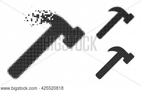 Disappearing Dotted Hammer Tool Icon With Halftone Version. Vector Destruction Effect For Hammer Too