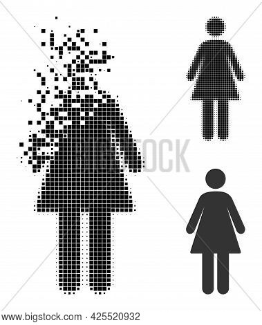 Disintegrating Dot Woman Pictogram With Halftone Version. Vector Destruction Effect For Woman Pictog