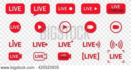 Set Of Live Streaming Icons. Red Symbols And Buttons Of Live Streaming, Broadcasting, Online Stream