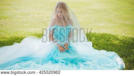 Elegant European Bride In Turquoise Dress, Fancy Bridal Collection, Dress For Wedding