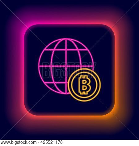 Glowing Neon Line Globe And Cryptocurrency Coin Bitcoin Icon Isolated On Black Background. Physical