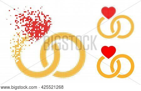 Dispersed Dotted Marriage Rings Icon With Halftone Version. Vector Destruction Effect For Marriage R