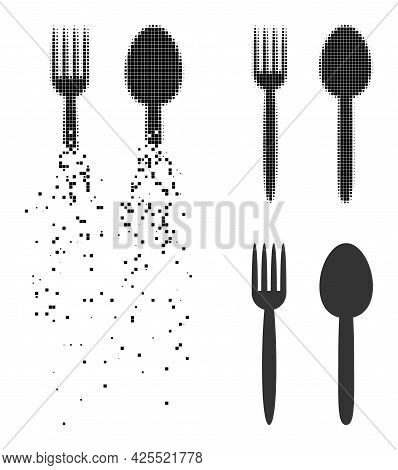Dissolved Dotted Food Utensil Icon With Halftone Version. Vector Destruction Effect For Food Utensil