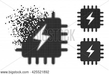 Erosion Pixelated Power Chip Icon With Halftone Version. Vector Wind Effect For Power Chip Symbol. P