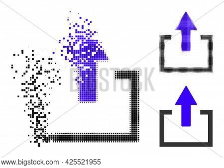 Dissipated Pixelated Upload Glyph With Halftone Version. Vector Destruction Effect For Upload Symbol
