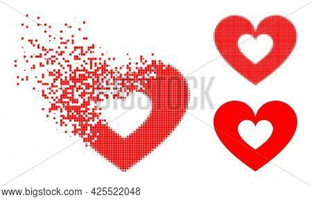 Fragmented Dotted Love Heart Icon With Halftone Version. Vector Wind Effect For Love Heart Icon. Pix