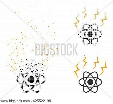 Erosion Pixelated Atomic Emission Icon With Halftone Version. Vector Wind Effect For Atomic Emission