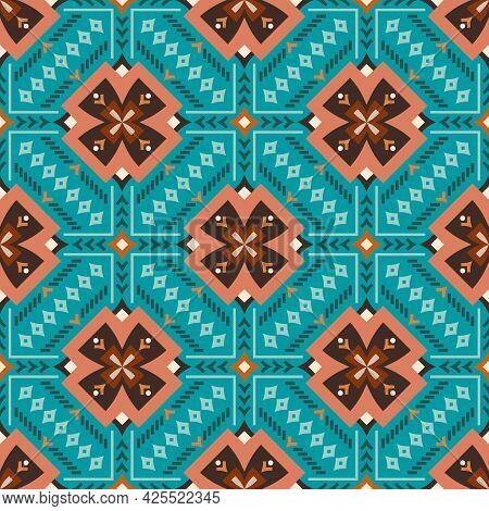 Geometrics On Bright Blue. Curved Rhombuses, V Shapes, Dots, Lines And Other Elements In Earthy Shad