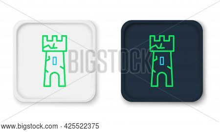 Line Castle Tower Icon Isolated On White Background. Fortress Sign. Colorful Outline Concept. Vector