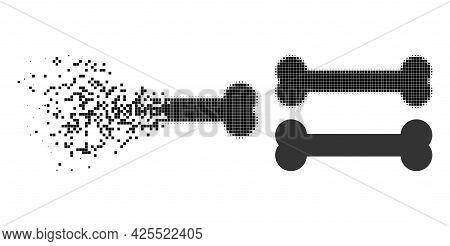 Shredded Pixelated Bone Glyph With Halftone Version. Vector Destruction Effect For Bone Icon. Pixela