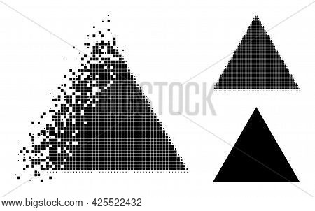 Disappearing Dot Triangle Pictogram With Halftone Version. Vector Destruction Effect For Triangle Pi