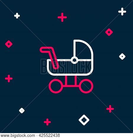 Line Baby Stroller Icon Isolated On Blue Background. Baby Carriage, Buggy, Pram, Stroller, Wheel. Co