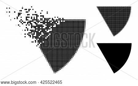 Dispersed Pixelated Circle Sector Pictogram With Halftone Version. Vector Wind Effect For Circle Sec
