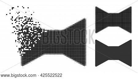 Destructed Pixelated Tie Bow Glyph With Halftone Version. Vector Destruction Effect For Tie Bow Icon