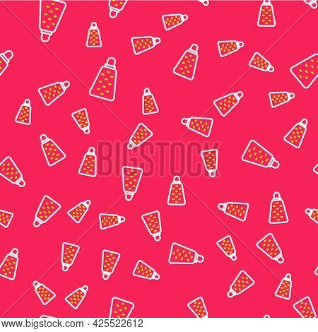 Line Grater Icon Isolated Seamless Pattern On Red Background. Kitchen Symbol. Cooking Utensil. Cutle