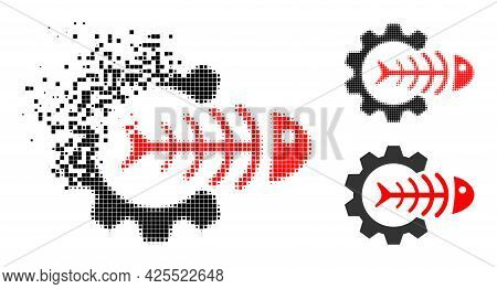 Dissipated Dot Toxic Industry Icon With Halftone Version. Vector Destruction Effect For Toxic Indust