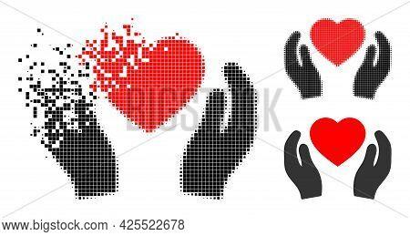 Moving Pixelated Romantic Heart Care Hands Pictogram With Halftone Version. Vector Destruction Effec