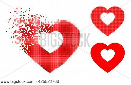 Broken Pixelated Valentine Heart Icon With Halftone Version. Vector Wind Effect For Valentine Heart