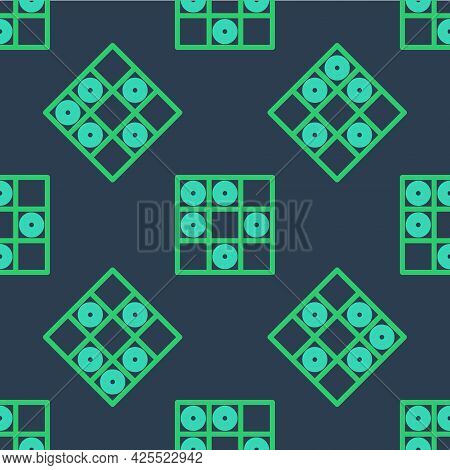 Line Board Game Of Checkers Icon Isolated Seamless Pattern On Blue Background. Ancient Intellectual