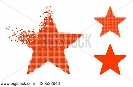 Dissolved Pixelated Red Star Pictogram With Halftone Version. Vector Wind Effect For Red Star Pictog