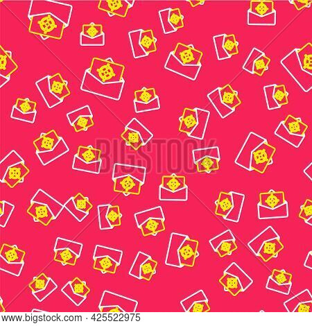 Line Mail And E-mail Icon Isolated Seamless Pattern On Red Background. Envelope Symbol E-mail. Email