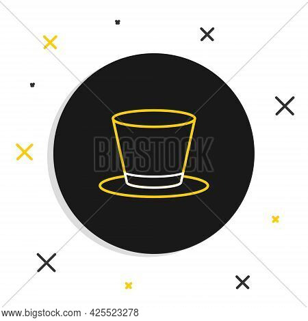 Line Cylinder Hat Icon Isolated On White Background. Colorful Outline Concept. Vector