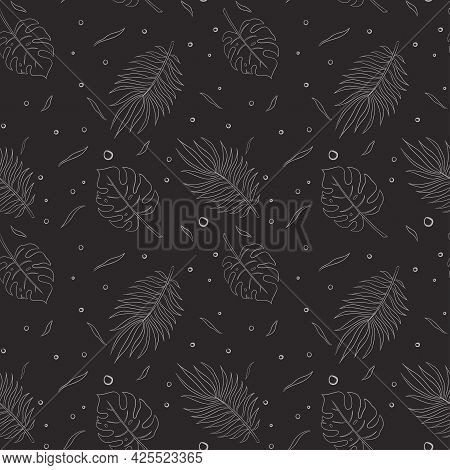 Jungle Leaves Seamless Pattern Line Art. Hand Drawn Rainforest Ornament For Background, Backdrop, Wa