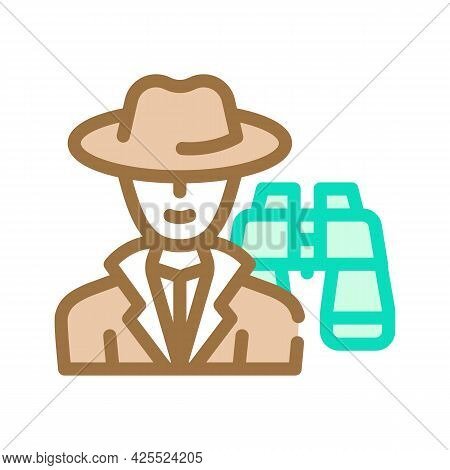 Detective Worker Color Icon Vector. Detective Worker Sign. Isolated Symbol Illustration