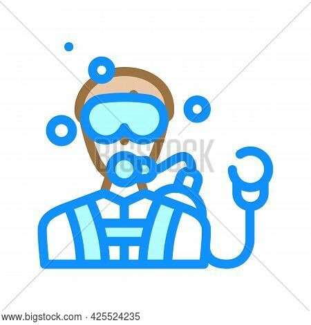 Diver Worker Color Icon Vector. Diver Worker Sign. Isolated Symbol Illustration