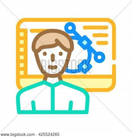 Designer Worker Color Icon Vector. Designer Worker Sign. Isolated Symbol Illustration