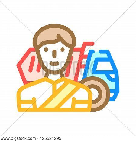 Driver Worker Color Icon Vector. Driver Worker Sign. Isolated Symbol Illustration
