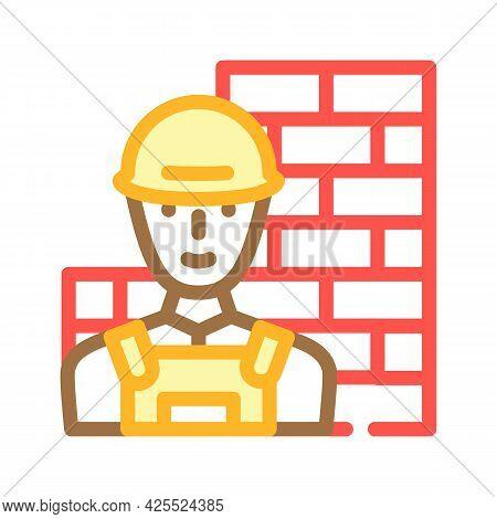 Builder Worker Color Icon Vector. Builder Worker Sign. Isolated Symbol Illustration