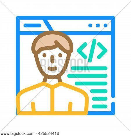 Programmer Worker Color Icon Vector. Programmer Worker Sign. Isolated Symbol Illustration