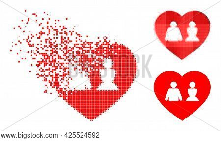Dissipated Dotted Love Heart Pictogram With Halftone Version. Vector Destruction Effect For Love Hea