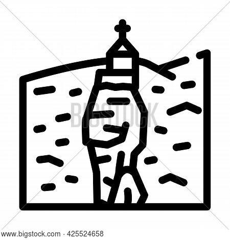 Katskhi Pillar Line Icon Vector. Katskhi Pillar Sign. Isolated Contour Symbol Black Illustration