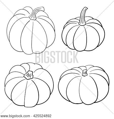 Collection Set Of Hand Drawn Pumpkin Sketch In Simple Black Ink Outline. Cute Tradition Squash Autum
