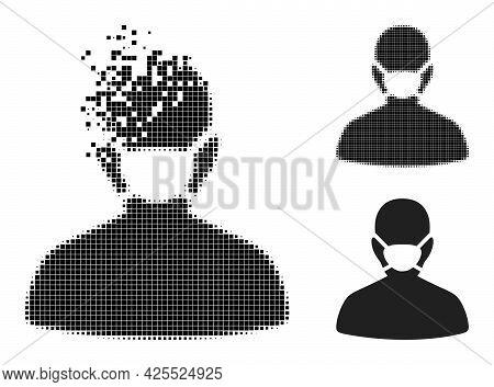 Broken Dot Coronavirus Face Mask Icon With Halftone Version. Vector Destruction Effect For Coronavir