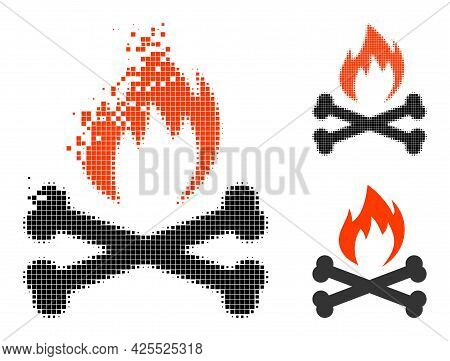 Disappearing Pixelated Hell Fire Bones Icon With Halftone Version. Vector Wind Effect For Hell Fire