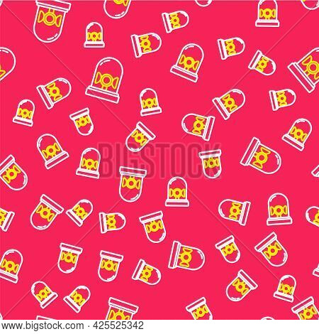 Line Flasher Siren Icon Isolated Seamless Pattern On Red Background. Emergency Flashing Siren. Vecto