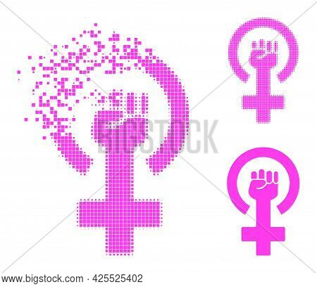 Dissolving Dotted Feminism Symbol Icon With Halftone Version. Vector Destruction Effect For Feminism