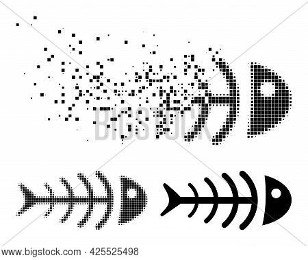 Fragmented Pixelated Dead Fish Pictogram With Halftone Version. Vector Destruction Effect For Dead F