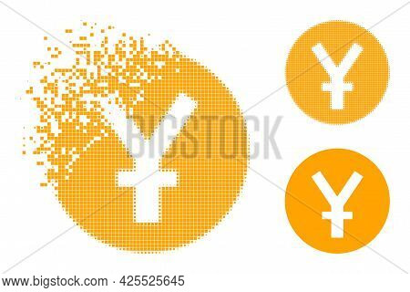 Disappearing Dotted Yuan Coin Pictogram With Halftone Version. Vector Destruction Effect For Yuan Co