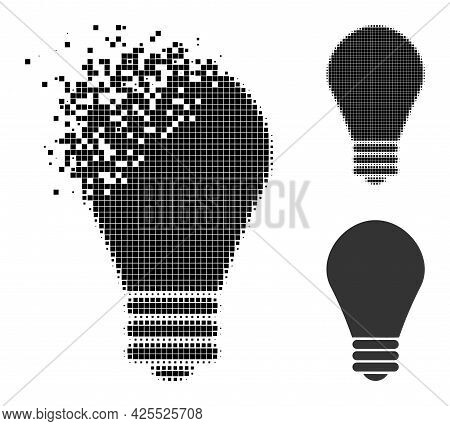 Erosion Dot Lamp Bulb Pictogram With Halftone Version. Vector Wind Effect For Lamp Bulb Pictogram. P