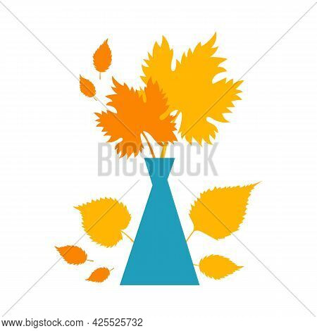 Autumn Concept For Postcard, Card, For Thematic Banner, Poster. Flat Autumn Composition, Decorative