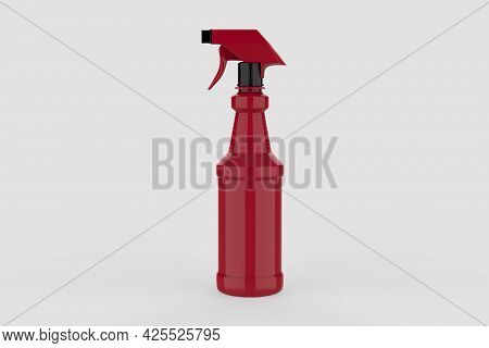 Blank Plastic Spray Detergent Bottle Isolated On White Background. Packaging Template Mockup Collect