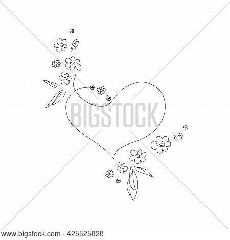 Simple Sketch Of Heart With Flowers, Doodle Style. Heart Surrounded By Daisies And Leaves Line Art I