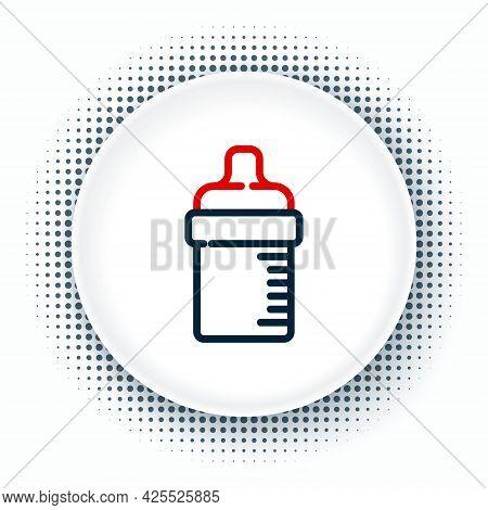 Line Baby Bottle Icon Isolated On White Background. Feeding Bottle Icon. Milk Bottle Sign. Colorful