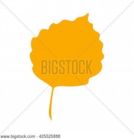 Autumn Leaf, Herbal Element. Fall Orange Aspen Leaf. Can Be Used As Sign, Symbol, Icon. Autumn Botan