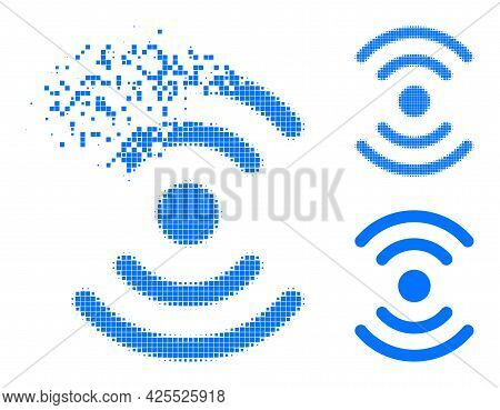 Moving Pixelated Radio Source Pictogram With Halftone Version. Vector Wind Effect For Radio Source I
