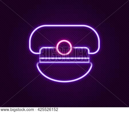 Glowing Neon Line Captain Hat Icon Isolated On Black Background. Colorful Outline Concept. Vector